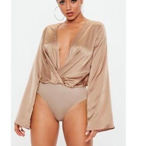 NWT Missguided Nude Drape Plunge Bodysuit